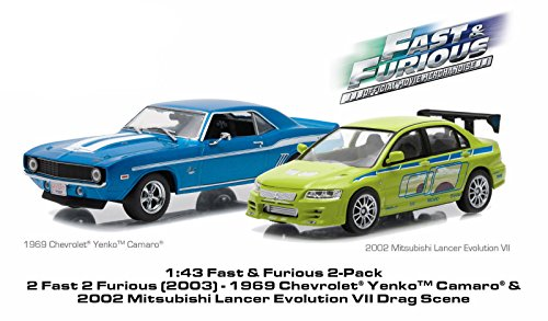Yenko Camaro (Greenlight 1:43 1969 Chevrolet YENKO Camaro and 2002 Mitsubishi Lancer Evolution VII Drag Scene 2 Fast and 2 Furious Movie (2003) Diorama Set 86253)