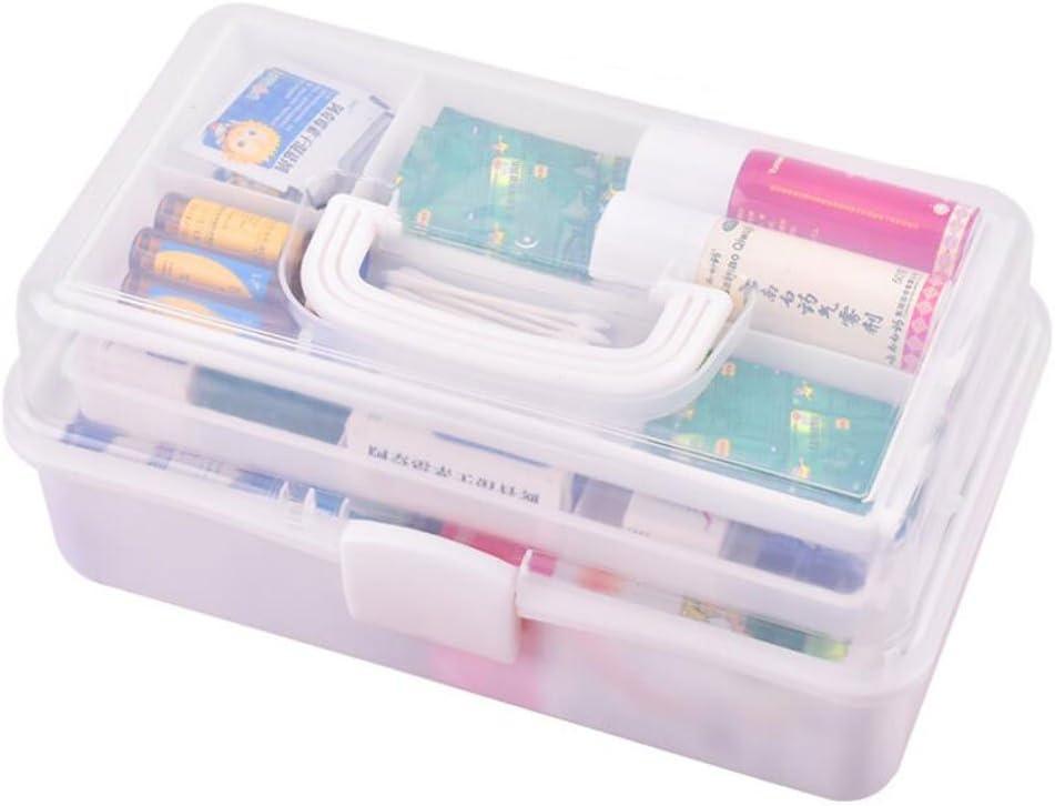 Caja de Seguro médico conservación de los medicamentos hogar de múltiples Capas de Medicina portátil Caja de Kit de plástico Kit de Primeros Auxilios (Color : Blanco)