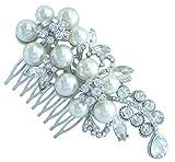 Sindary Trendy Wedding 4.33'' Pearl Rhinestone Crystal Flower Hair Comb Headpiece Tiara Ornament Jewelry