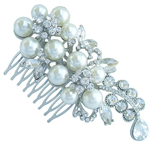 Sindary Trendy Wedding 4.33'' Pearl Rhinestone Crystal Flower Hair Comb Headpiece Tiara Ornament Jewelry by Wedding Hair Accessories-Sindary Jewelry