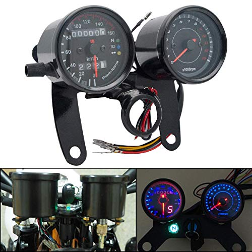 SUNWAN LED Digital Speedometer Dual Motorbike Odometer Gauge Motorcycle Tachometer Oil Level Meter with Blacklight: