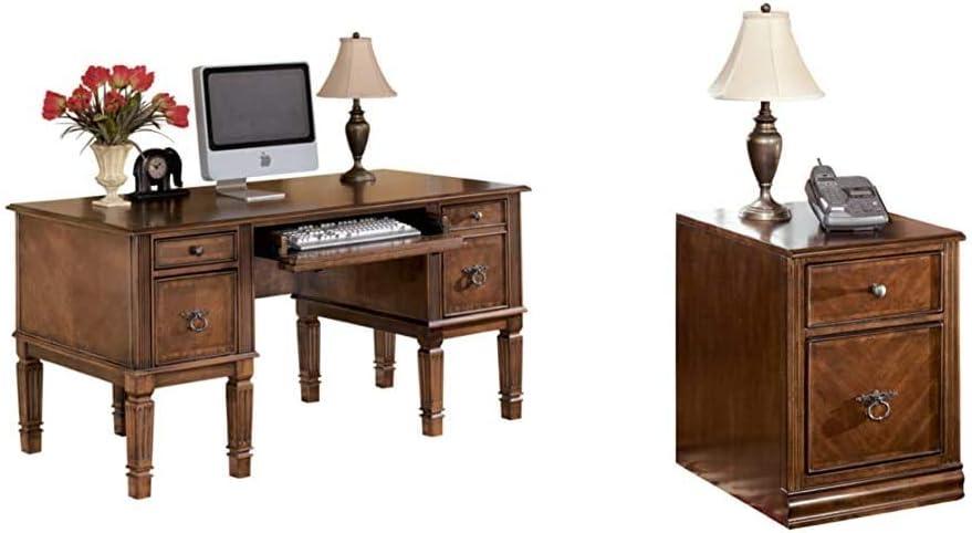 Signature Design by Ashley Hamlyn Home Office Storage Leg Desk Medium Brown & Hamlyn File Cabinet Medium Brown