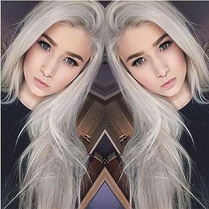 Fashion natural plateado gris largo recto encaje sintético peluca delantera completa sin pegamento Luz Gris Resistente