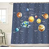 Odorless,Durable,Easy care,Drapes well Solar System Planets Stars and Galaxy Space Fabric Curtain,Adds Color to Your Bathroom,Perfect Gift Idea