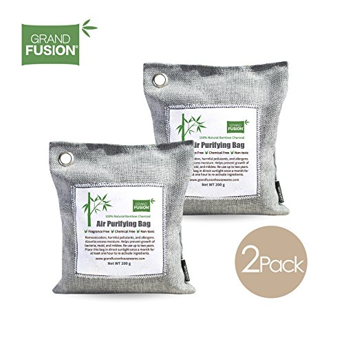 Grand Fusion Housewares Bamboo Charcoal Air Purifying Bag 2 Pack (200G Each) - Keeps Rooms Fresh, Dry, and Odor Free. Great for Pets, auto, Closets, Boats, Bathroom, and Home. from by Grand Fusion Housewares