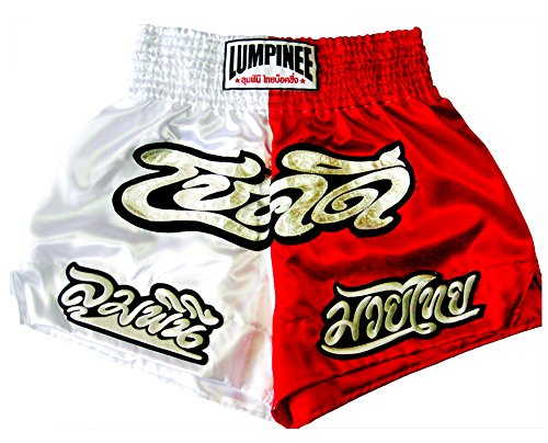 [LUMPINEE Muay Thai Boxing Shorts - LUCKY SERIES - White/Red - size XL] (Chaussure Homme Costume)