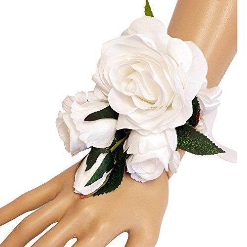 Wrist Corsage-Beautiful Quality Keepsake Wrist corsage-roses and pearl bracelet (White) (Wrist Corsage Prom)