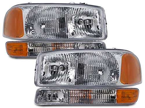 HEADLIGHTSDEPOT Chrome Housing Halogen Headlights Compatible with GMC Sierra 1500 HD 2500 3500 Yukon XL Includes Left Driver and Right Passenger Side Headlamps 4-Piece Set w/Park Signal Lights