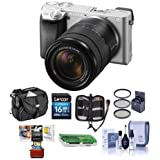 Sony Alpha A6300 Mirrorless Camera Silver with 18-135mm f/3.5-6.3 OSS Zoom Lens - Bundle with 16GB SDHC Card, Camera Case, 55mm Filter Kit, Cleaning KIt, Memory Wallet, Card Reader, Mac Software Pack