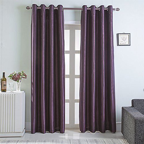(GYROHOME Heavy Faux Silk Blackout Curtains Fully Lined Solid Color Window Treatment Drapes for Bedroom and Living Room Thermal Insulated Grommet Top Room Darkening Drapes,2 Panels)