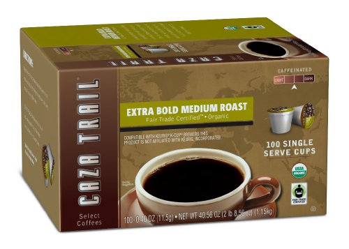 Caza Trail Coffee, Organic Extra Bold Medium Roast, 100 Single Serve Cups (Keurig Organic Coffee K Cups compare prices)