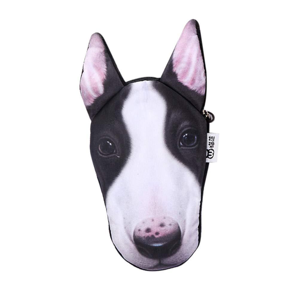 Write 3D Printed Dog Face Wallet with Zipper, Cute Schnauzer Dachshund Chihuahua Bichon Bull Terrier Dog Handbag Change Bag Coin Purse (A)