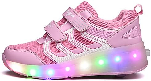 Ufatansy USB Charging Shoes Roller Shoes Girls Roller Skate Shoes pink - 3