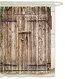 FOOG Rustic Barn Door Shower Curtain Rural Vintage Wooden Garage Door Country Waterproof Mildew Resistant Fabric White Gray Greenby (70'' Wx78 L)