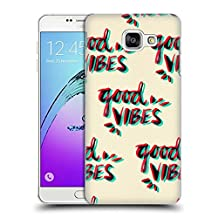 Official Cat Coquillette Good Vibes Red Cyan Quotes Typography 4 Hard Back Case for Samsung Galaxy A7 (2017)