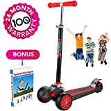 Scooter For Kids, Maxi Foldable Kick Scooter Deluxe, handlebars adjustable age 5-12, Surface Balance Technology 2''widthX3 Wheels 24 Months Guarantee eBookGift Talented Kids Secrets (Red & Black)