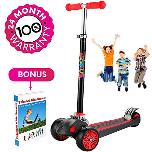 "Scooter For Kids, Maxi Foldable Kick Scooter Deluxe, handlebars adjustable age 5-12, Surface Balance Technology 2""widthX3 Wheels 24 Months Guarantee eBookGift Talented Kids Secrets (Red & Black)"