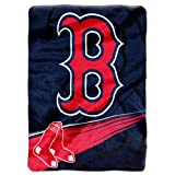MLB Boston Red Sox Speed Plush Raschel Throw Blanket, 60x80-Inch