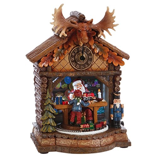 Figurine Musical Wind Up Santa - Santa's Workshop Musical Christmas Clock Decoration, 9 1/2 Inch
