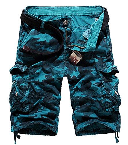 - AOYOG Men's Camo Cargo Shorts Cotton (29, Blue Camo #956)