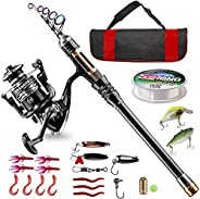 BlueFire Fishing Rod Kit, Carbon Fiber Telescopic Fishing Pole and Reel Combo with Spinning Reel, Line, Lure,