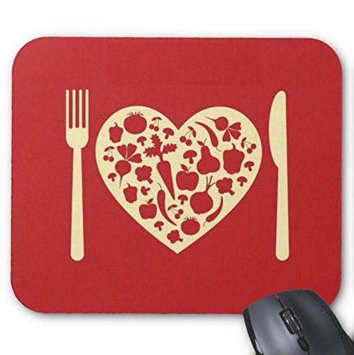 Mousepad Love Heart Plate with Knife and Fork Print Mouse Mat
