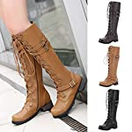 Women's Wick Lace-up Punk Tactical Thigh High Boots Military Buckle Gothic Steampunk Combat Shoes 8