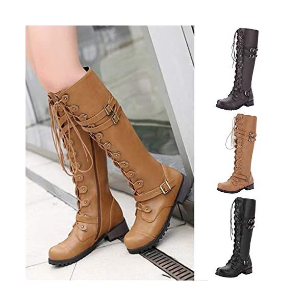 Women's Wick Lace-up Punk Tactical Thigh High Boots Military Buckle Gothic Steampunk Combat Shoes 5