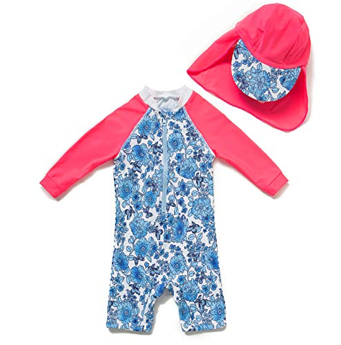Baby Girls Toddler One Piece Swimsuit Long Sleeve UPF 50+ Sun Protection (Blue and White, 24-36 - One Piece White Sleeve Long