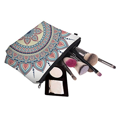 Cosmetic Bag for Women,Deanfun Mandala Flowers Waterproof Makeup Bags Roomy Toiletry Pouch Travel Accessories Gifts (50965)
