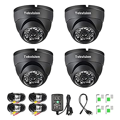 Tekvision 4 Pack 1000TVL 960H HD Security Surveillance CCTV Dome Camera Kit Outdoor/Indoor IR Cut Day/Night Vision 6mm Lens IP66 Waterproof by Tekvision
