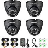 Tekvision 4 Pack 1000TVL 960H HD Security Surveillance CCTV Dome Camera Kit Outdoor/Indoor IR Cut Day/Night Vision 6mm Lens IP66 Waterproof