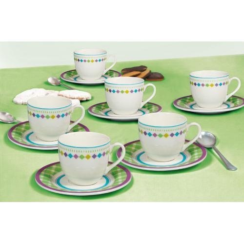 (Tognana 85 cc 6-Piece Pearl Seville Coffee Cup and Saucer Set, White)