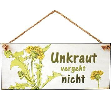 Formano Hanger Schild Bild Mit Spruch Unkraut Vergeht Nicht Weiss