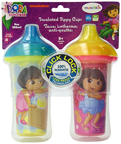 (Munchkin Dora the Explorer Click Lock Insulated Sippy Cup, 9 Ounce, 2-Count )