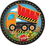 """Construction Truck Birthday Dinner Party Paper Plates, 9"""", 8 Ct."""