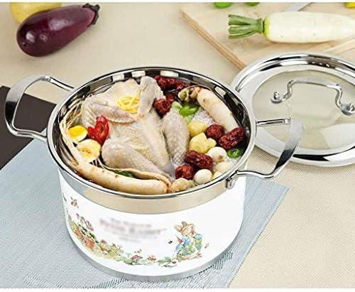 Nologo en Acier Inoxydable Multi-Usage Marmite, Pot antiadhésifs, Double Fond épais Pot Marmite, for Cooker BBGSFDC