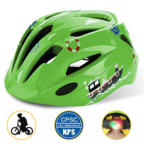 Shinmax Kids Bike Helmet, Adjustable CPC Certified Cycling Bicycle/Skateboard/Scooter Helmet Cycling with Safety Light Protective for 3-8 Old Boys&Girls Youth
