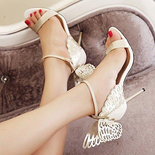 Nude Zpfmm À Ankle Parti Sexy Papillon Sandales Escarpins Chaussures Ouvert Bout Strap Femmes Hauts Talons Bw6qrB1