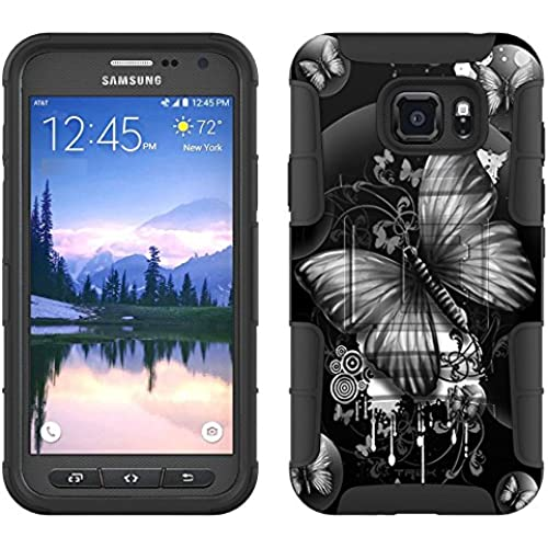 Samsung Galaxy S7 Active Armor Hybrid Case Highlighted Butterfly Black on Black 2 Piece Case with Holster for Samsung Galaxy S7 Active Sales
