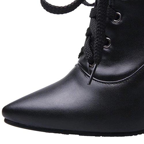 Aiyoumei Kvinna Spets-up Spetsig Tå Bootie Spik Stilettos Höst Vinter Svart Boots Svart