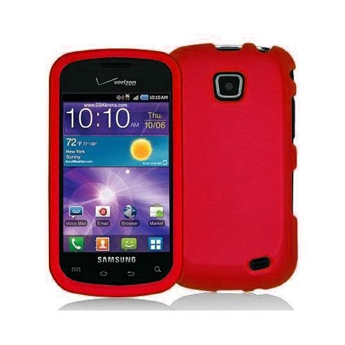 Red Rubberized Snap-On Hard Skin Case Cover New for Samsung Illusion i110