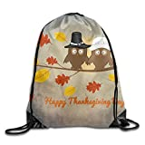 Owls Sitting Autumn Tree Thanksgiving Day Foldable Drawstring Bag Sport Backpack