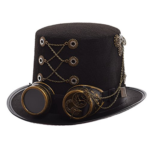 GRACEART Steampunk Top Hats With Goggles Head Circumference-58cm -
