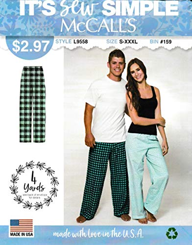 McCall's Sewing Patterns L9558 ML9558 Unisex Men's Misses' Size S-XXXL Easy Pull-on Pajama Pants