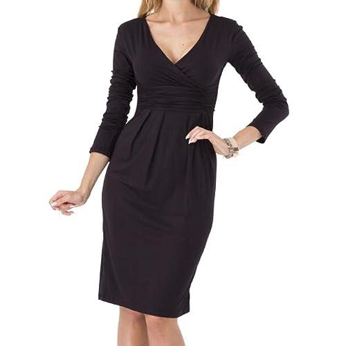 hibote Vestito a misura di vestito dal manicotto lungo del V-collo del vestito dalla matita delle do...