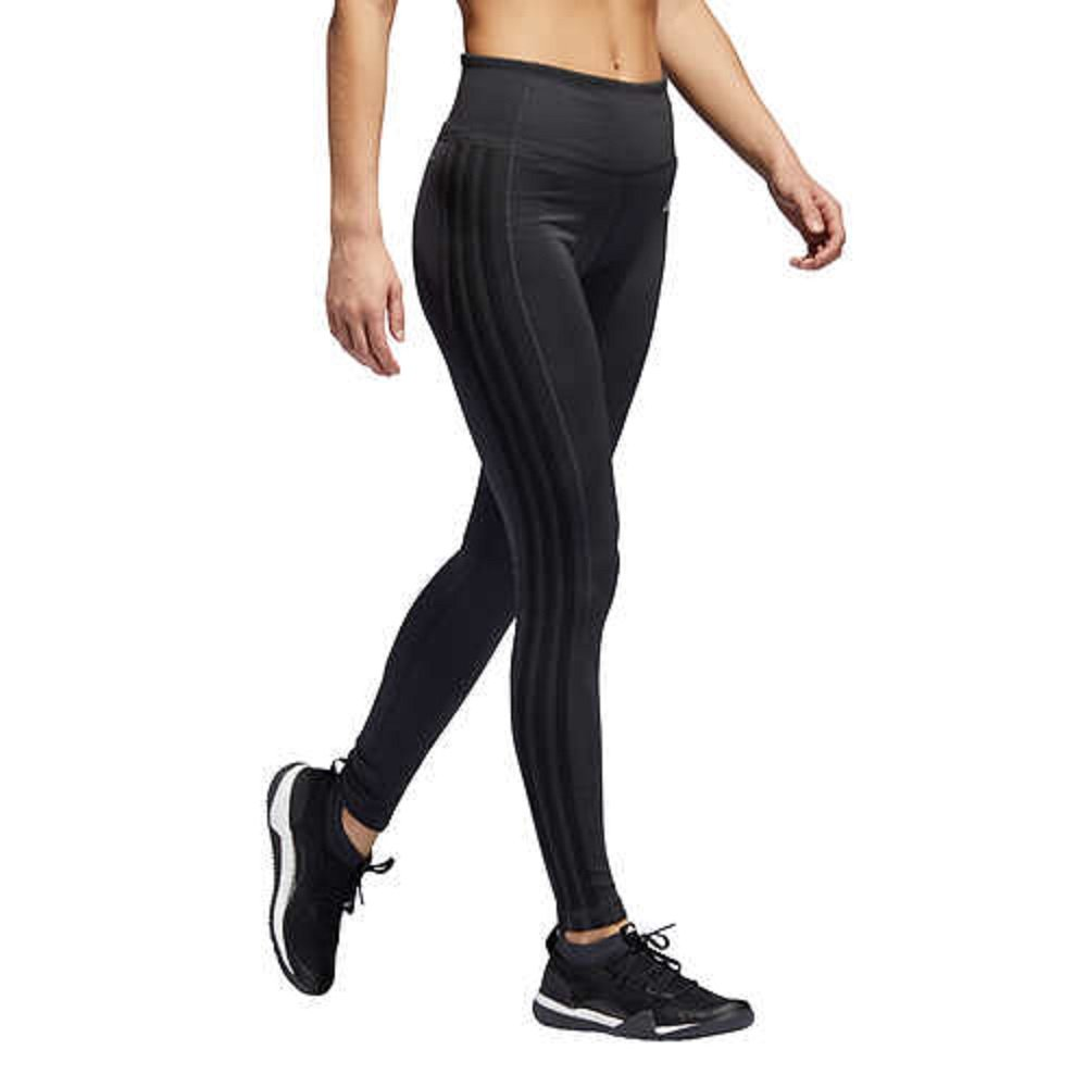 adidas Womens 3 Stripe Active Tights Leggings (Charcoal, X-Large) by adidas