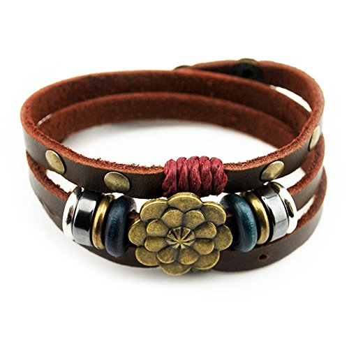 Bluegrass Multilayer Leather Personality Hematite Lucky Lotus Flower Snap Button Wrap Bracelet (Studded Wristband Single)