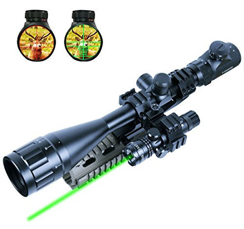 Lukher 2 In 1 6-24x50 Hunting Rifle Scope Mil-dot Illuminated Snipe Scope & Tactical Green Laser Sight
