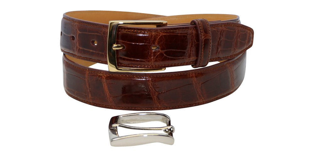 Size 36 Cognac Gloss Genuine American Alligator Men's Belt - 1 ¼ inch (32mm) Wide - Gold & Silver Buckles - Factory Direct Price - Gift Box - Made in USA by Real Leather Creations FBA185